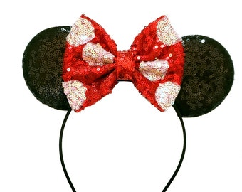 Red and white sequin polka dot minnie ears, minnie mouse ears, minnie mouse headband