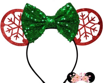 christmas holiday glitter snowflake sequin choose your own color minnie ears minnie mouse ears minnie mouse headband