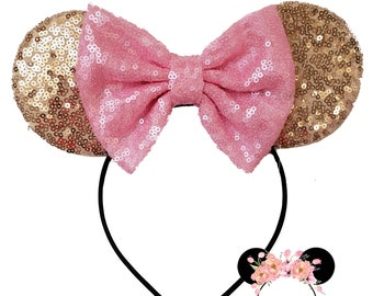 Sequin Pink and Gold Pastel Dream Ice Parlor minnie ears, minnie mouse ears, minnie mouse headband
