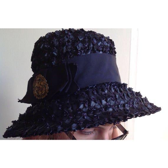 Summer Hat Raffia Straw Ribbon Woven Brimmed Hat Blue Millinery Derby Boat Hat 21 Damascene Ornament Gibbe Hat ParisNew York