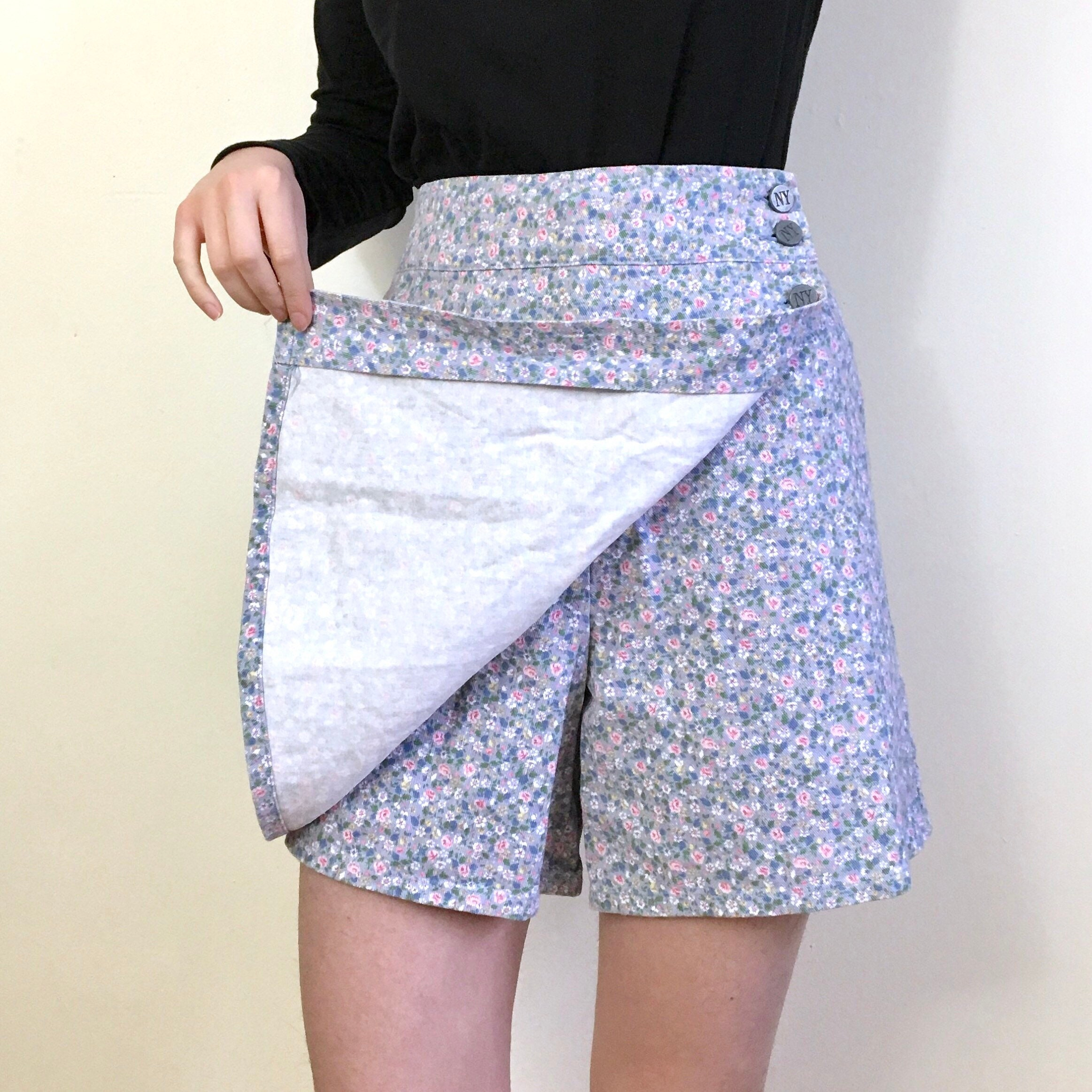 93ef901a793 Vintage 90s Skort Mini Skirt / Shorts Summer Cotton High | Etsy