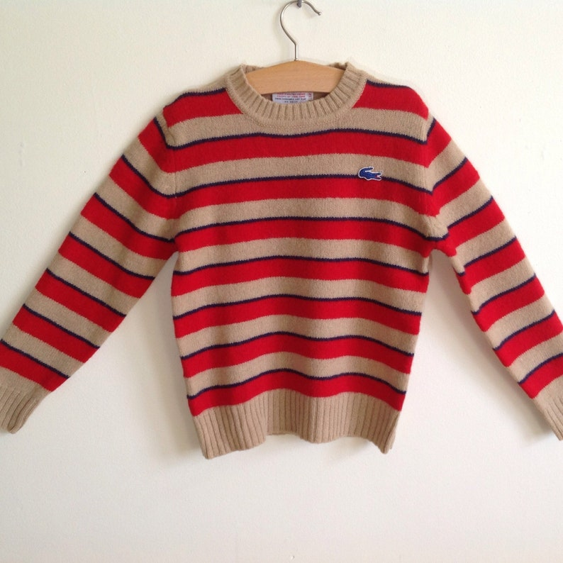 080854ce97e3d Child's Striped Sweater, Vintage IZOD Lacoste Alligator Crewneck Pullover  Wool, Made in Hong Kong, Kid's sweater Size Medium