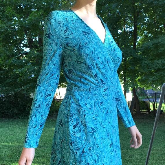 90s Diane Von Furstenberg Silk Wrap Dress, Blue Ma