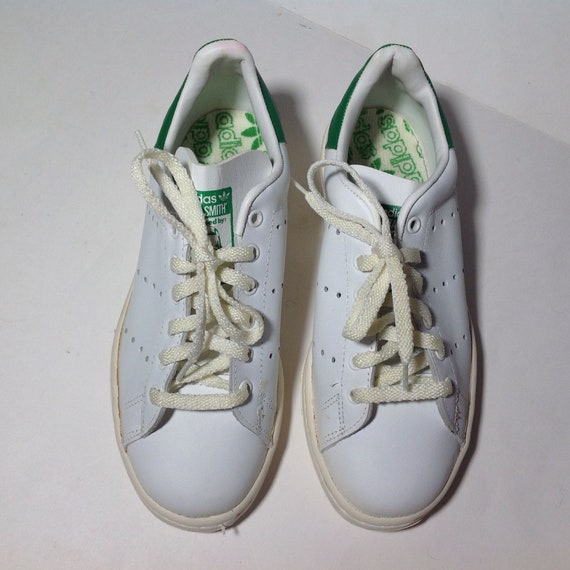 80s Adidas STAN SMITHS Vintage White, Made in France, 162317, Women's /  Youth size 4
