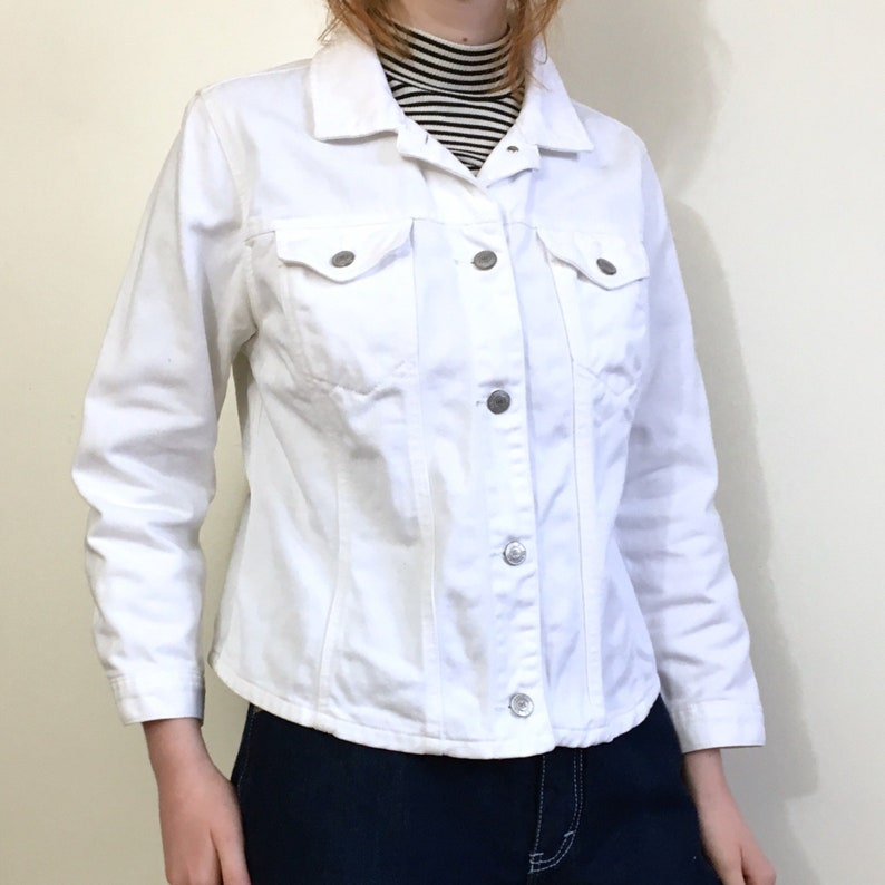 8c286c6886fd6 90s White Denim Jacket Ralph Lauren Polo Jean Co. Cropped