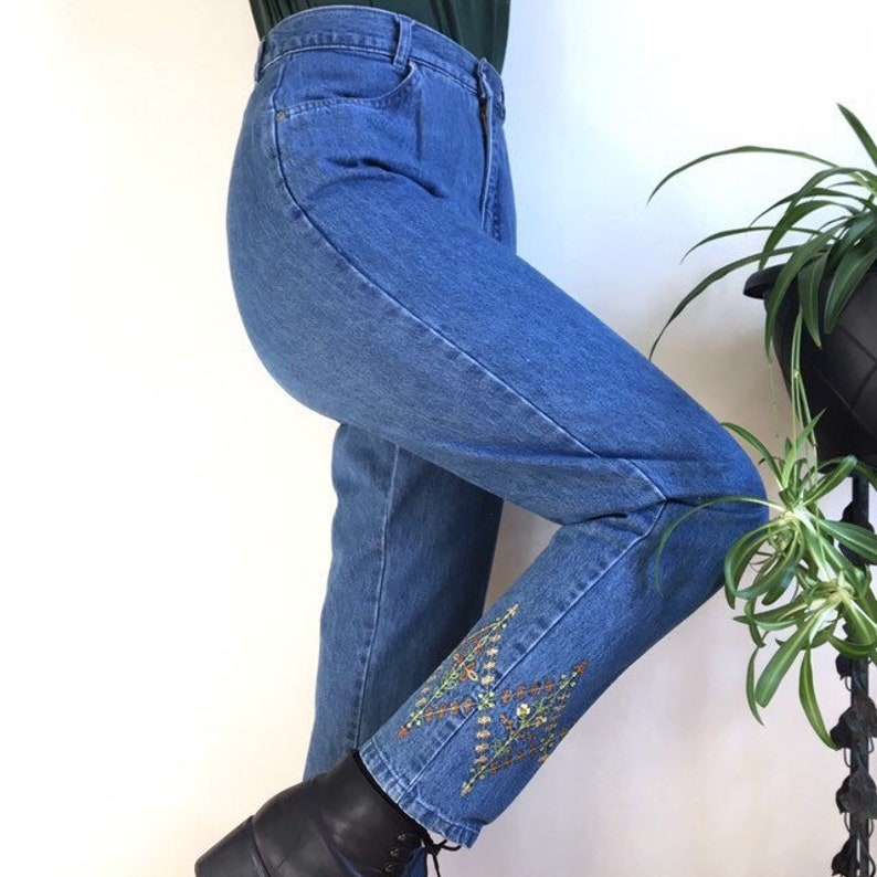 ae9037a08a3 80s High Waist Jeans Tapered Leg Mom Jeans No Back Pockets