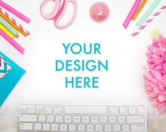 Desk Styled Stock Photography   White Desk   Office Stock Photo   Party Styled Stock Photo   Keyboard Styled Stock Photo