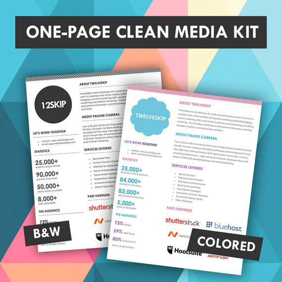Quick One Page Media Kit Template Press
