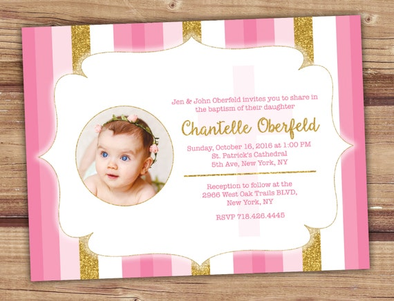 baptism invitation girl gold pink baptism invitation baptism etsy
