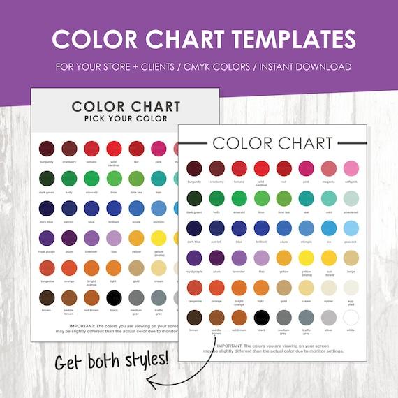 Color Chart Color Chart Template Color Palette Instant | Etsy
