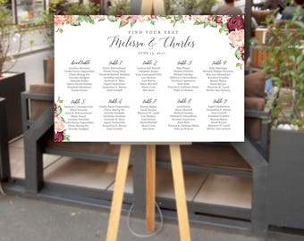 Customized Printed Wedding Seating Chart | Seating Chart Poster | Burgundy | Flowers | Printed | Digital | Personalized Seating Chart