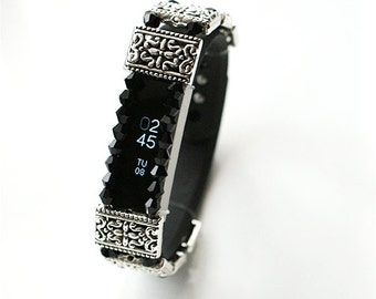 Handmade Silver Tone Crystal Fitness Bracelet Wrap Cover Fits Fitbit Alta Other Bands