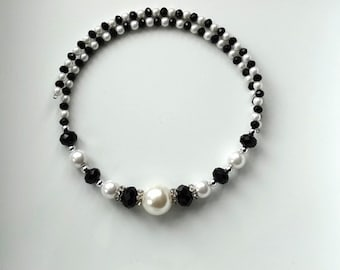 Luxurious Handmade Black and White Crystal Choker Necklace For Women