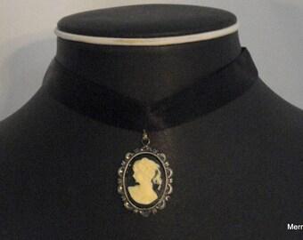 Black Cameo Necklace