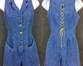 Vintage 90s Denim Playsuit Womens Romper Summer Jumper 100 Cotton Jumpsuit Faded Denim High Waisted Shorts Corset Tie Back