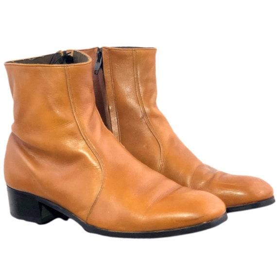 Vintage 70s Zipper Boots Beatle Boots Chestnut Bro
