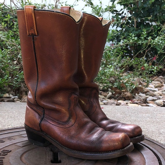 Vintage 70s Biker Square Toe Boots Motorcycle Boot