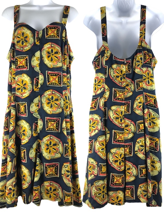 Vintage 80s Sundress Rayon Summer Dress Skort