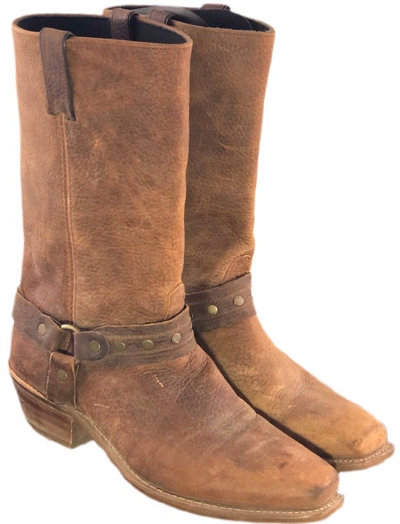 Vintage 90s Harness Boots Brown Leather 11D Motorc