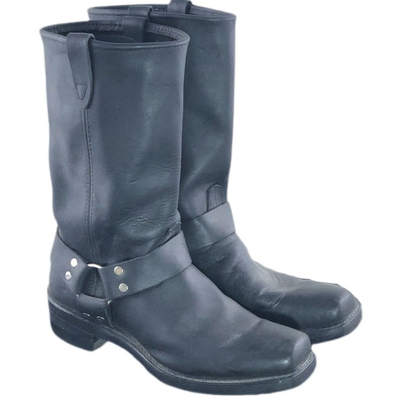 Vintage 80s 90s Motorcycle Boots Harness Biker Boo