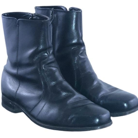 Vintage 70s Zipper Boots 1970s Beatle Boots Black