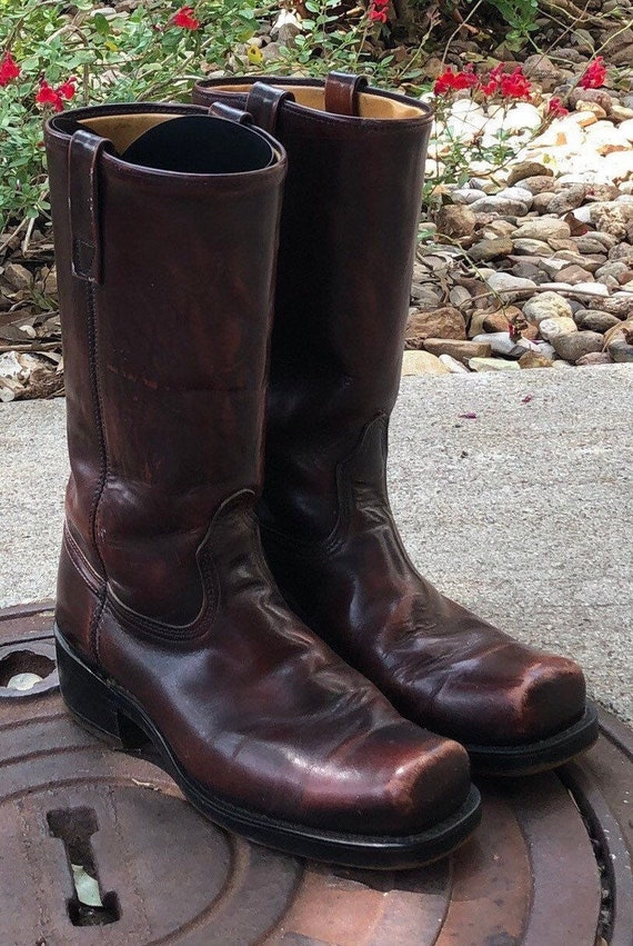 Vintage 70s Biker Boots Square Toe Motorcycle Boot