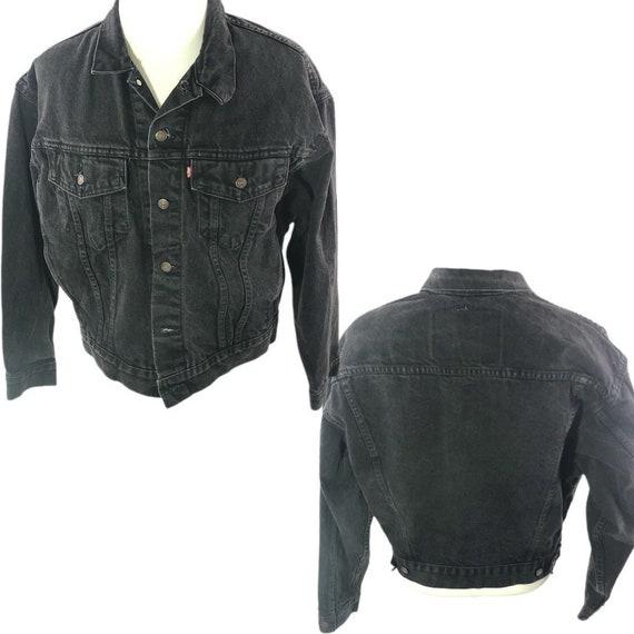 Vintage 90s Levi's Black Denim Jacket Mens Denim J
