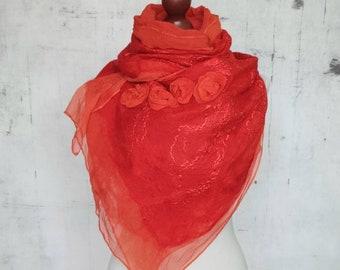 FELTED SILK SCARF, Wrap Scarf, Nuno Felted Scarf, silk shawl.