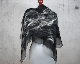 black scarf, nuno felted silk scarf shawl, felted shawl, felted scarf, wool scarf, wrap scarf - Feltmondo