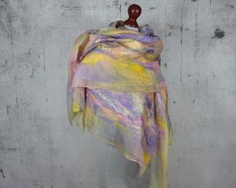 nuno felted silk scarf shawl, felted shawl, felted scarf, wool scarf, wrap scarf - Feltmondo