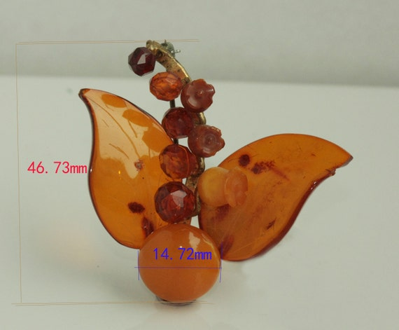 Antique Baltic Amber Brooch/Pin  Lily Of The Valle