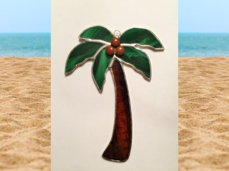 with Coconuts! Handmade Stained Glass Palm Tree Suncatcher