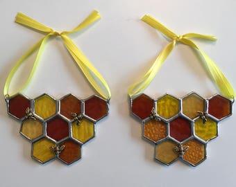 Handmade Stained Glass Honeycomb Suncatcher