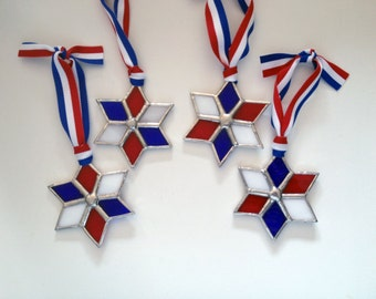 Handmade Stained Glass THANK A VET Patriotic Six-Point Star