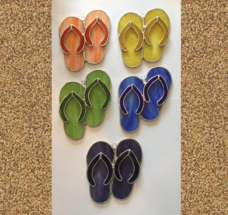 a89adfca8455 Handmade Stained Glass Flip-Flops   Sandals Suncatcher