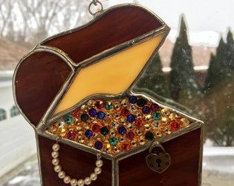 Handmade Stained Glass Treasure Chest Suncatcher made with Genuine Swarovski Crystals & Pearls