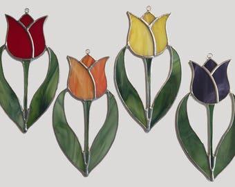 Handmade Stained Glass Tulip Suncatcher