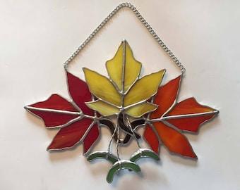 Handmade Stained Glass Autumn Maple Leaf Trio Suncatcher