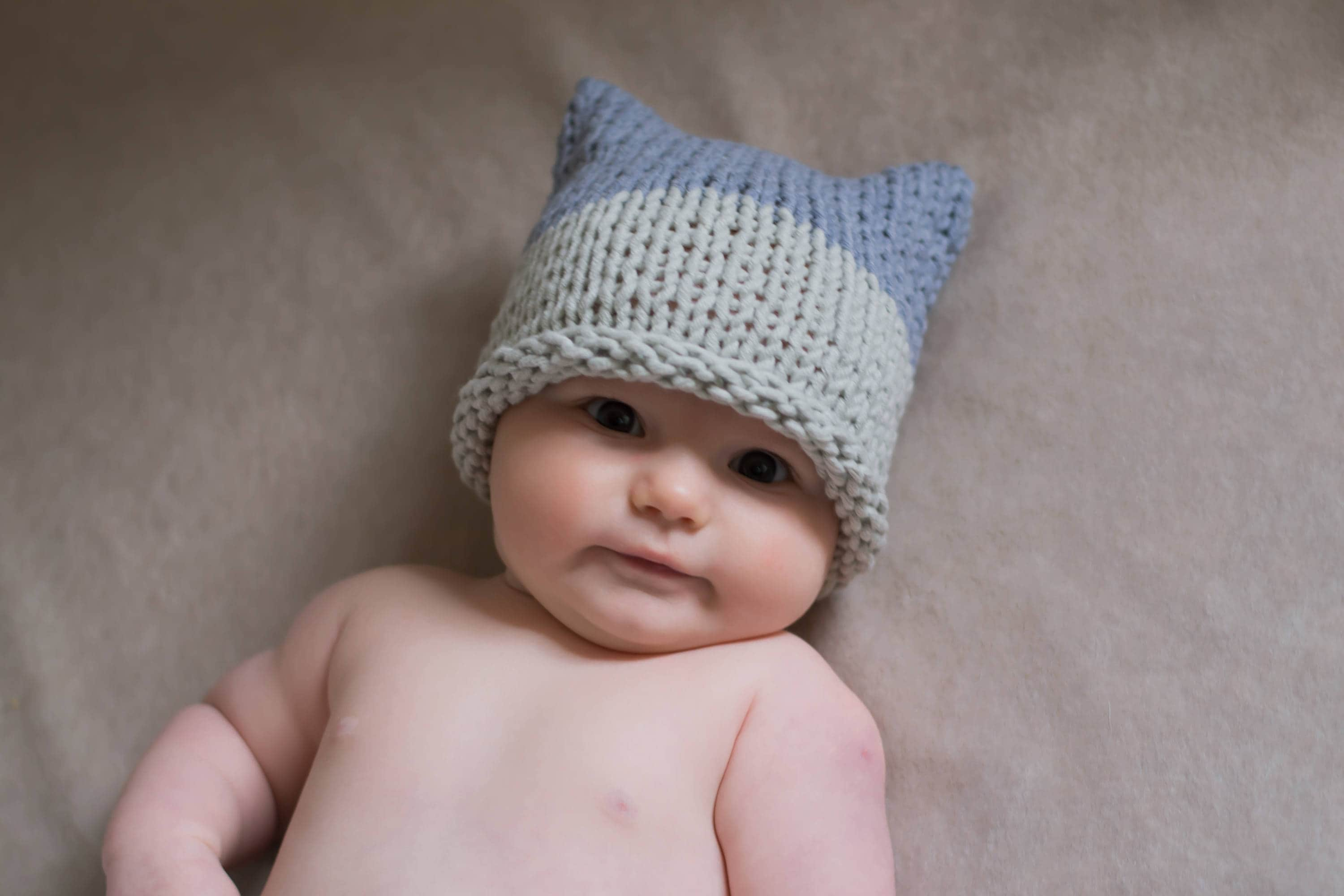 Baby pussyhat hand knitted baby hat baby knitted hat  390db28727a