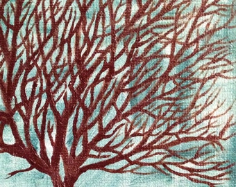 Tree of Life painting, original 8x10 oil painting, hand painted, turquoise and brown, oil on stretched canvas