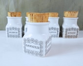 Set of Five Arabia Finland Spice Jars with Cork Stoppers Designed by Ulla Procopé