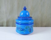 Bitossi Liberty Covered Jar Canister - Aldo Londi Paisley Pattern Jar Urn with Rimini Blue Glaze
