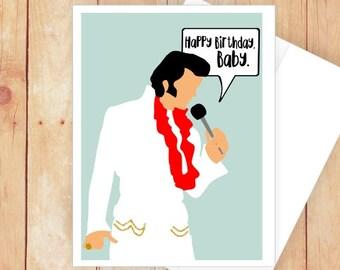 Elvis Birthday Card Presley Gifts Girlfriend Funny Hawaiian 70s