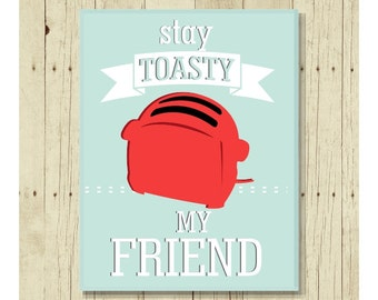 Stay Toasty Magnet, Funny Magent, Refrigerator Magnet, Cute Fridge Magnet, Gifts Under 10, Small Gift, Vitnage Toaster, Gift Magnet