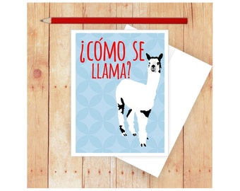 Como Se Llama Note Card Funny Greeting Spanish Blank Language Birthday Pun