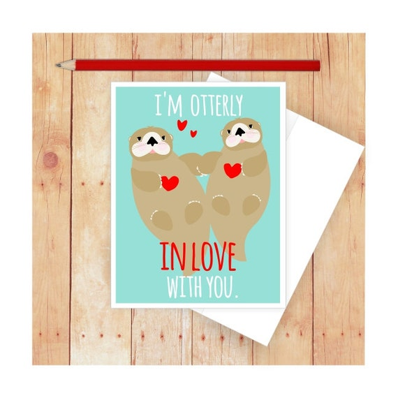 I Love You Card Pun Card Funny Card Valentine Card Otters Etsy