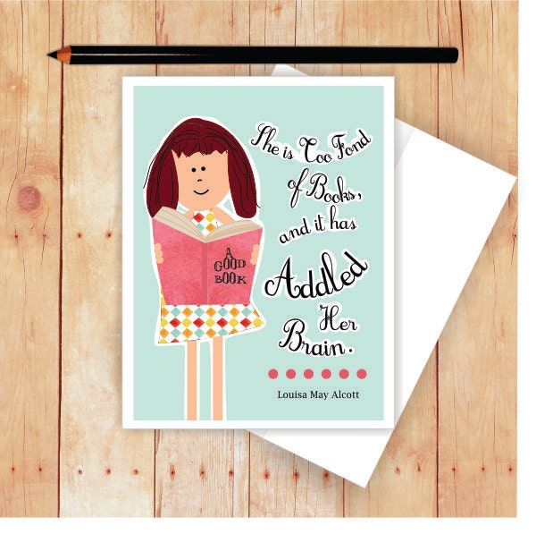 Book Card Book Lover Gift All Occasion Card Louisa May Etsy