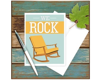 We Rock Card, Funny Anniversay Card, Funny Card, Card for Husband, Card for Wife, Mid Century Chair, Card for Him, Card for Her