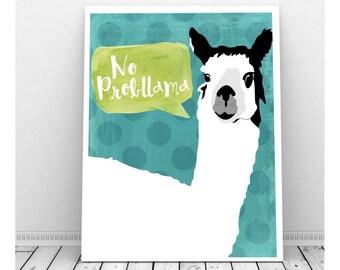 No ProbLlama Digital Art Print, Funny Art, Instant Download, Llama Art, Llama Print, No Problem, Quirky Art, Funny Pun, Funny Art,