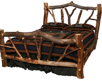 Aspen Stickley Forest Log Bed, Reclaimed Wood Bed, Colorado Aspen Log  Furniture